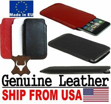# SLIM CREASED GENUINE REAL LEATHER POCKET CASE SLEEVE POUCH FOR APPLE IPHONE