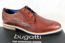 Bugatti Men's Lace-Up Trainers Braun Leather 69403 New