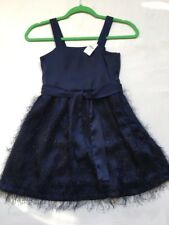 Gap Kids Girls' Fuzzy Holiday Dress, Size 8, Navy Blue, Sleeveless, Ties in Back