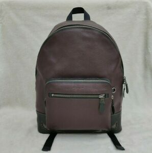 Coach West Maroon Backpack with Cut Outs Laptop Bag in Colorblock
