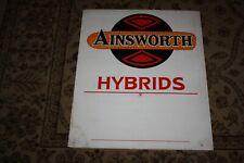 Original 1980s 1990s Ainsworth Hybrid Seed Feed Corn Farm Row Marker Sign