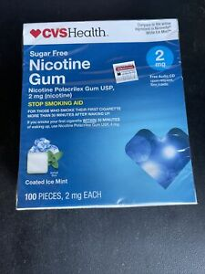 CVS HEALTH NICOTINE SUGAR FREE GUM COATED ICE MINT 2mg 100 PIECE exp 03/21