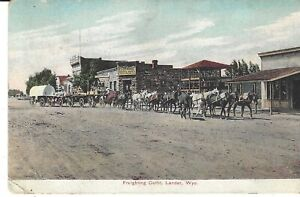 POSTCARD FREIGHTING OUTFIT LANDER WYOMING