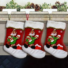 Large Christmas Stocking Gift Bag Snowman Xmas Luxury Embroidered Socks