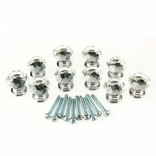 10 Pcs Crystal Glass Clear Knob Drawer Pull Handle Kitchen Door Wardrobe  HY
