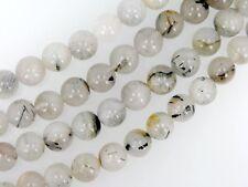 Black rutilated quartz round beads 10mm