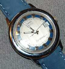 Vintage Timex Electric Dynabeat Blue Gray Dial w/ Date Leather Band NEW BATTERY!