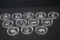 """Complete Set of 12 Vintage VAL ST LAMBERT Crystal 3.5"""" ZODIAC Scalloped Coasters"""