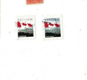 CANADA  FLAG  STAMP with  BLUE COLOR MISSING