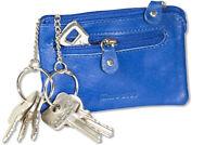 Rimbaldi® flache Leder Schlüsseltasche mit 2 Schlüsselketten in Blau