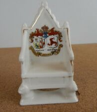 Crested Ware China Throne Douglas Isle Of Man 10cm tall