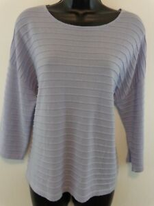 Eileen Fisher Women Jewel Neck Crop Top Sz Petite Large Purple New With Tags