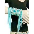 Raviani Turquoise Leather Bracelets W/ Fringe  Crystal Mesh  Made In USA