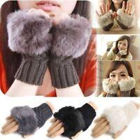 Warm Fake Knitted Wool Mitten Gloves Half Cuff Fingerless Wrist Winter Gloves