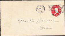 US - 1907 - 2 Cents Red #U411 Stationery Goshen, NY Machine Cancel Orange County