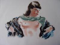 """DIGNIMONT / LITHOGRAPHIE signée """" Le foulard vert """"  38x28 1946"""