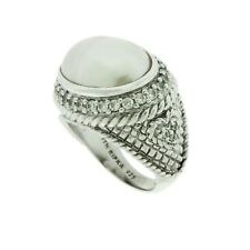 Judith Ripka Sterling Mabe Pearl & Diamonique Ring, Size 7 in JR Packaging