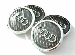 Audi 4pcs 69mm Wheel Center Caps Black Carbon