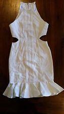 Women's Ivory cut out design ruffle hem Bodycon dress s10 BNWOT free post E24