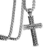Herren Vintage Schwarz Silber Ton Edelstahl Religiöse Kreuz Anhänger Halskette