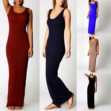 Women's Sexy Sleeveless Casual Summer Cotton Maxi Long Dress Beach Sundress Hot