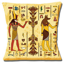 Egyptian Gods Cushion Cover 16x16 inch 40cm Horus and Anubis Ancient Symbols