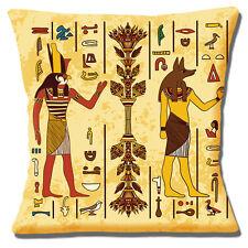 Egyptian Gods Cushion Cover 16x16 inch 40cm Horus and Anubis Ancient Symbols