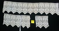 Antique Filet Crochet Heart Wide Lace Trim Edging Figural 3 pc Lot A30