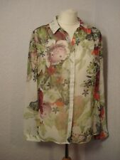 BNWOT Red Herring ivory & red/pink/green bold floral chiffon top 12