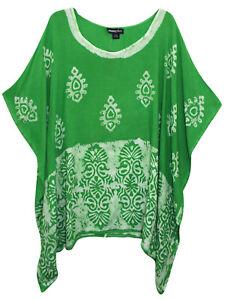 Womens plus size 16 to 30 Top green crinkle viscose tie dye kaftan style