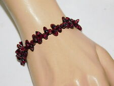 """Red Garnet stone 'Rice' Bead strand 7.5"""" Bracelet 9G 56"""