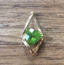Estate 14K Yellow Gold Fancy Trillion Green Peridot Pendant - Slide 9mm