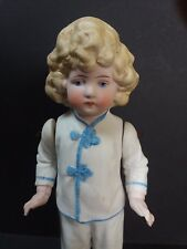 "ANTIQUE ALL BISQUE MINIATURE MIGNONETTE CHARACTER DOLL 7.5"" JOINTED MOLDED HAIR"