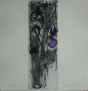 Piero Guccione acquaforte a colori Fiori 25,5x24 firmata numerata 24/45 anno '76