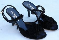 Chanel Black Velvet Pearl Rose Slingback Heels Shoes 38.5 Italy Authentic 7.5