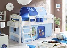 Lit mezzanine KENNY Pin teinté blanc tissus Pirate bleu ciel-Bleu foncé