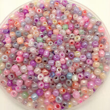50g glass seed beads - Mixed Ceylon - approx 4mm (size 6/0) pastel colour mix
