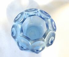 "Art Deco Blue Cut Crystal Glass Small Vase 5 1/2"" H  (#870)"