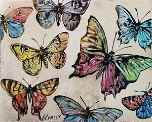 "DAVID BROMLEY ""Butterflies"" Mixed Media on Card 70cm x 88cm"