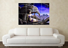 Large Fantasy Dragon Fire Sword Myth Gothic Magic Wall Poster Art Picture Print