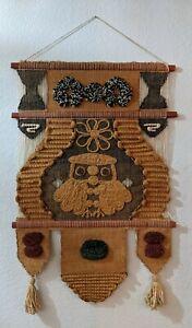 VTG Fiber Art Macrame Owl Boho Folk Wall Hanging Don Freedman Style EXTRA LARGE