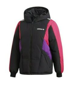 Adidas Color block Down Jacket Short EC218 Women's Size Medium Warm Coat Winter