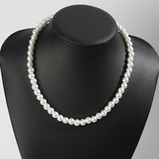 Fashion 8mm Pure White Color Faux Imitation Plastic Round Pearl Chain Necklace