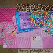BonEful Fabric COTTON QUILT LOT Pink Scrap BOX VTG Disney Princess Calico Flower