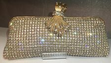NIB Crystal Evening Bag Clutch Hand Bag made with Swarovski Elements Gold