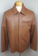 BROOKS BROTHERS Caramel Color Men's Leather Zip Up Jacket size M