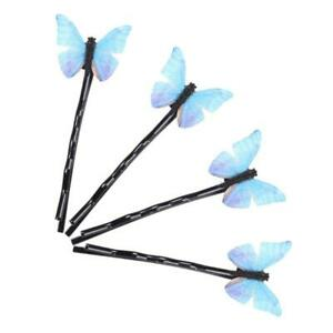 4Pcs Blue Butterfly Hair Clips Bobby Pins Sweet Romantic Metal Barrette Hairpins