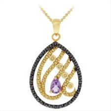 18K Gold over Silver Amethyst & Black Diamond Necklace