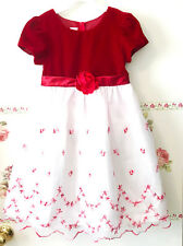 La Princess Velour Red White Tulle Skirt Flower Flared Party Holiday Dress 6X