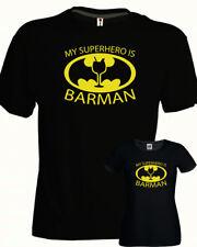 Tshirt BARMAN batman cotone nera uomo donna idea regalo simpatica bar party